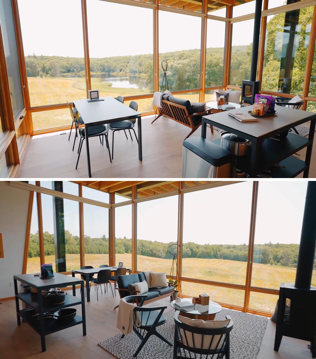 The upper level of this modern cabin is home to an open plan glass-walled living room, dining area, and small kitchen.