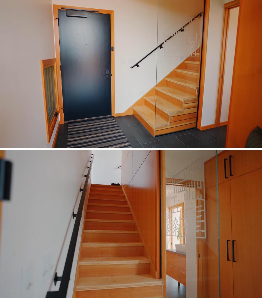 A wood-lined staircase by the front door connects the upper level of the cabin.
