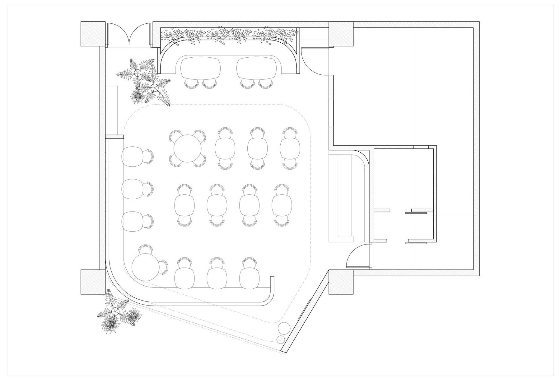 The layout of a modern cafe.