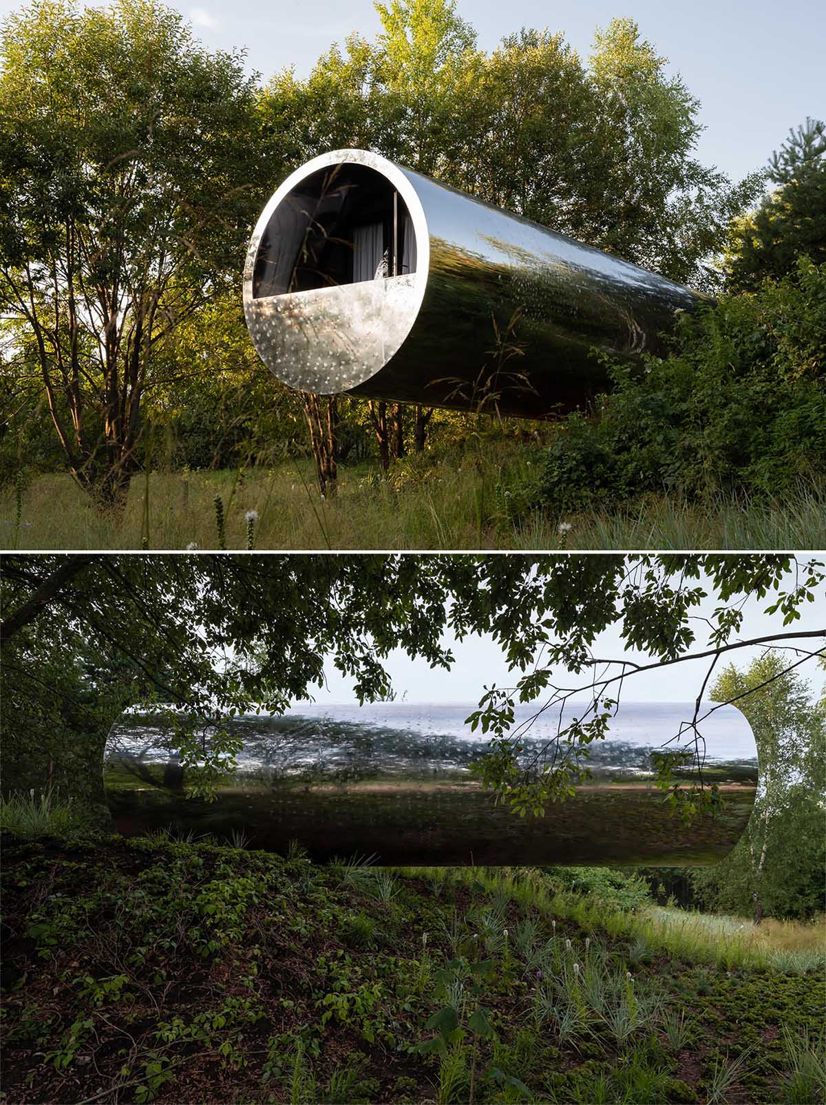 A unique tube-inspired cabin with a stainless steel exterior and a wood-lined interior.