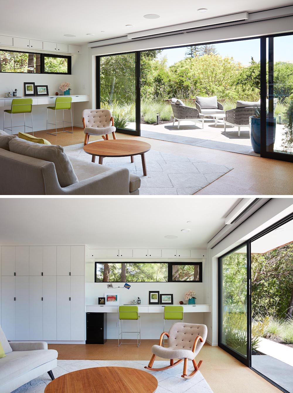A modern family room with easy access to a new outdoor patio through floor to ceiling, full-width glass sliders.