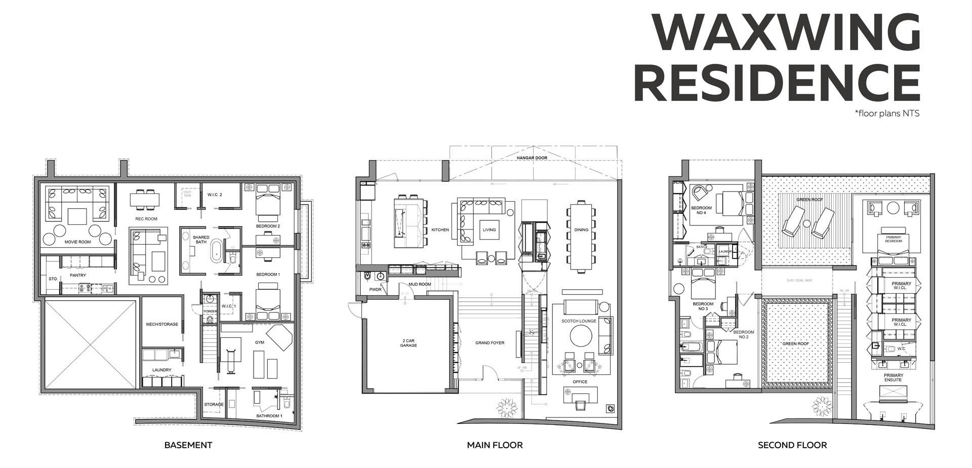 The floor plan of a modern home with three levels.
