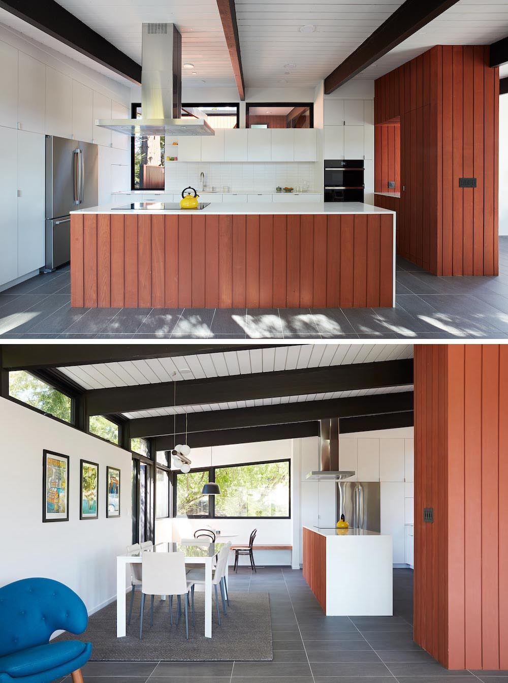 A remodeled kitchen with white cabinets, an open dining area, and a corner breakfast nook.