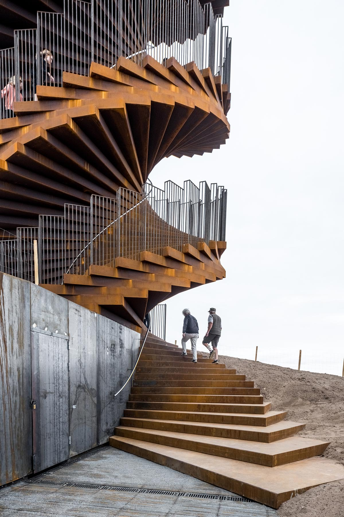 A new spiraling lookout tower in Denmark made from weathered steel.