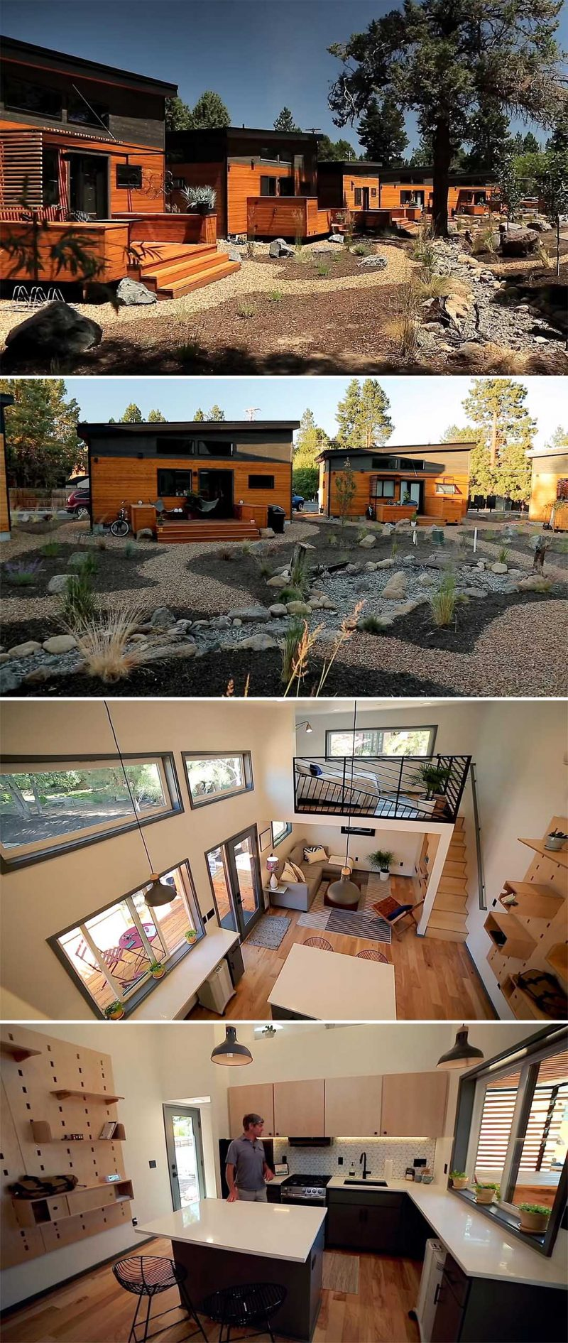 Jesse Russell, owner and creator of Hiatus Homes, has designed a purpose-built village with 22 tiny homes, located in Bend, Oregon. Each tiny house features solar panels, storage for bikes and outdoor gear, a small pergola, an open plan living room and kitchen, and multiple loft areas.