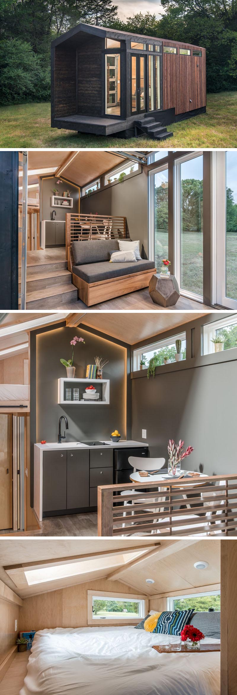 A tiny house with a contemporary gable farmhouse design, different interior levels, and two sleeping areas.