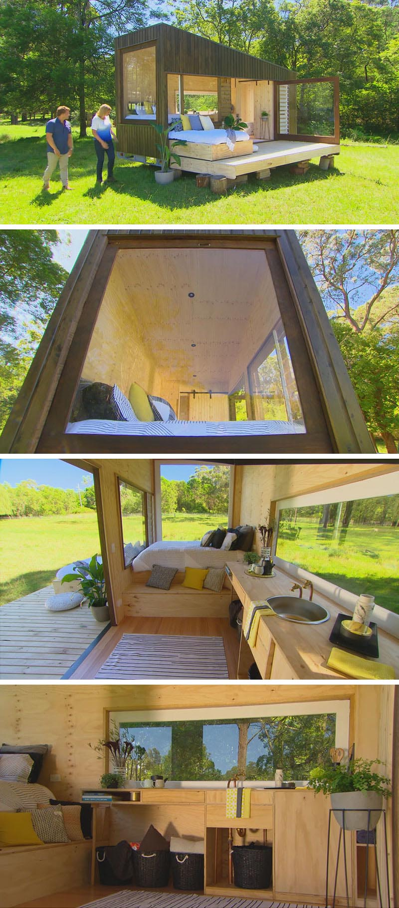 This tiny house in Australia designed by architect Paul Sofronov of Archemy, measures in at just 19 feet x 7 feet, and has a simple modern design that's covered in cypress pine cladding. There's also a deck that has a daybed that slides out from within the tiny house.
