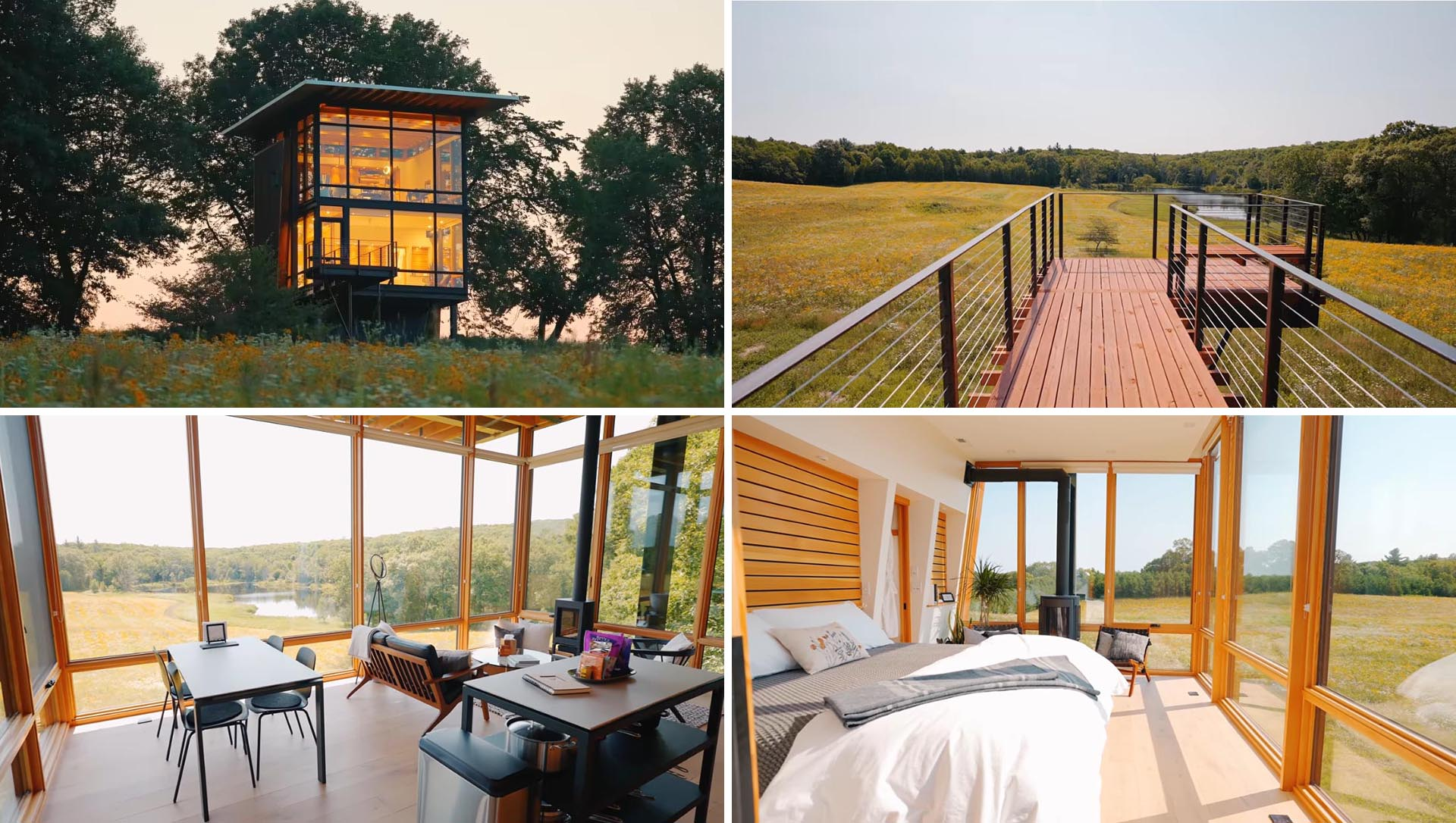 A modern two-storey cabin with a bedroom, bathroom, and open living room, dining area, and kitchen.