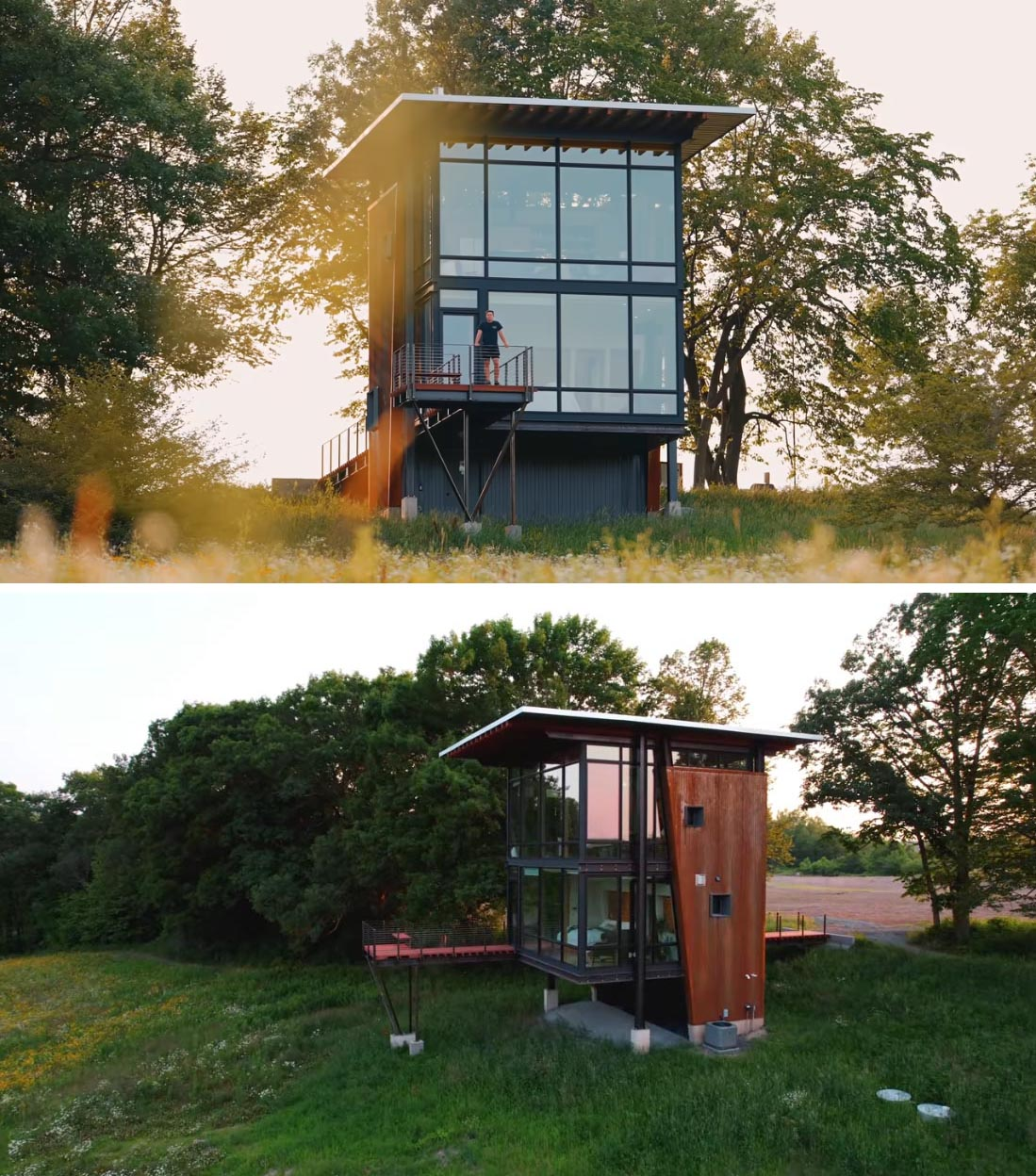 This modern cabin has an exterior of raw, uncoated corrugated steel that's combined with large windows, and a door that opens to an elevated deck that cantilevers over the hillside.