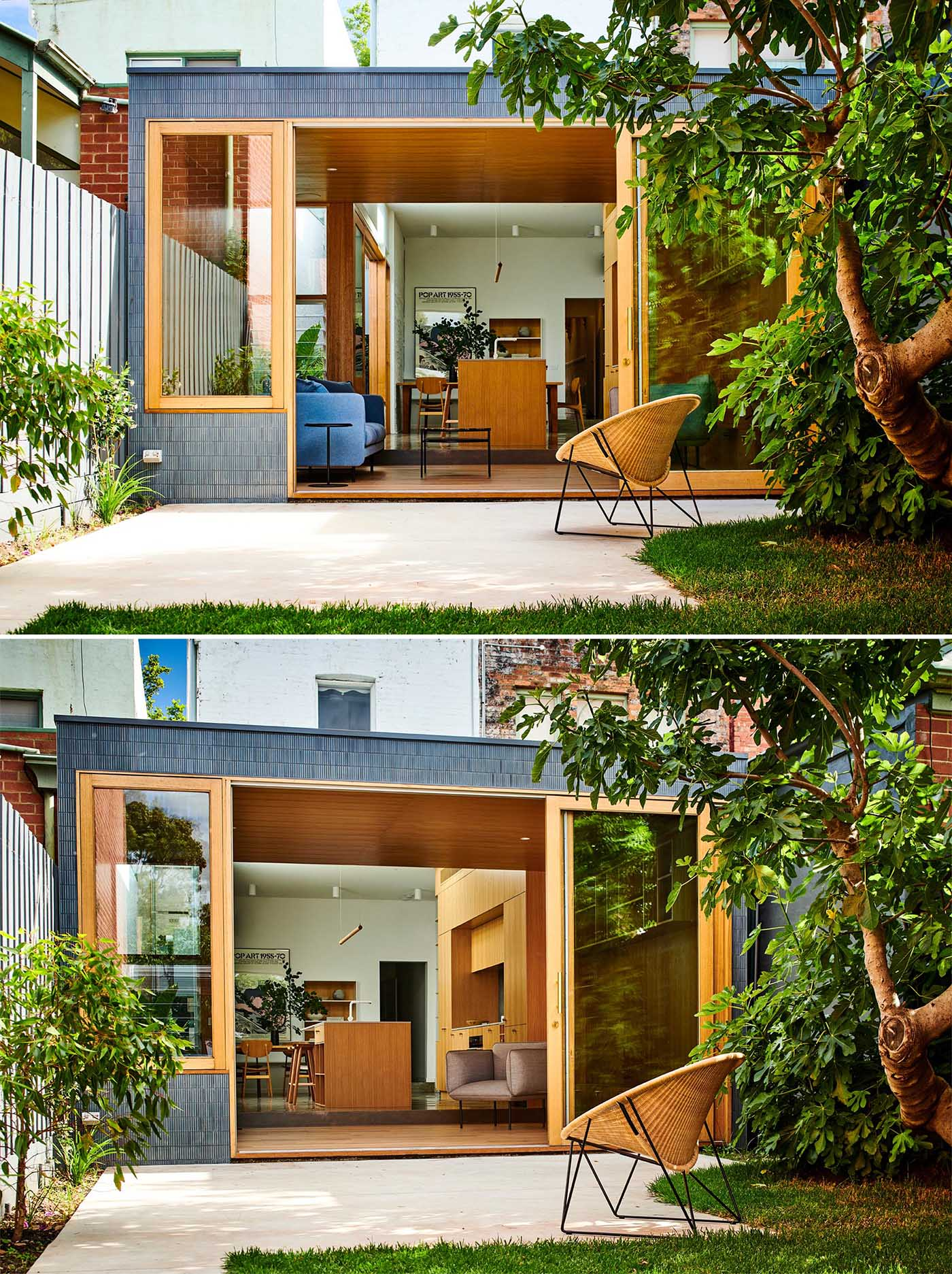 Dan Gayfer Design has completed a new ground floor addition for a home in Melbourne, Australia, that includes a new sitting area, the kitchen, and dining area.