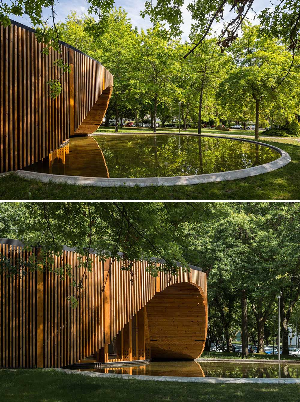 The circular design of this modern building is accented by a reflection pool and wood slat exterior.