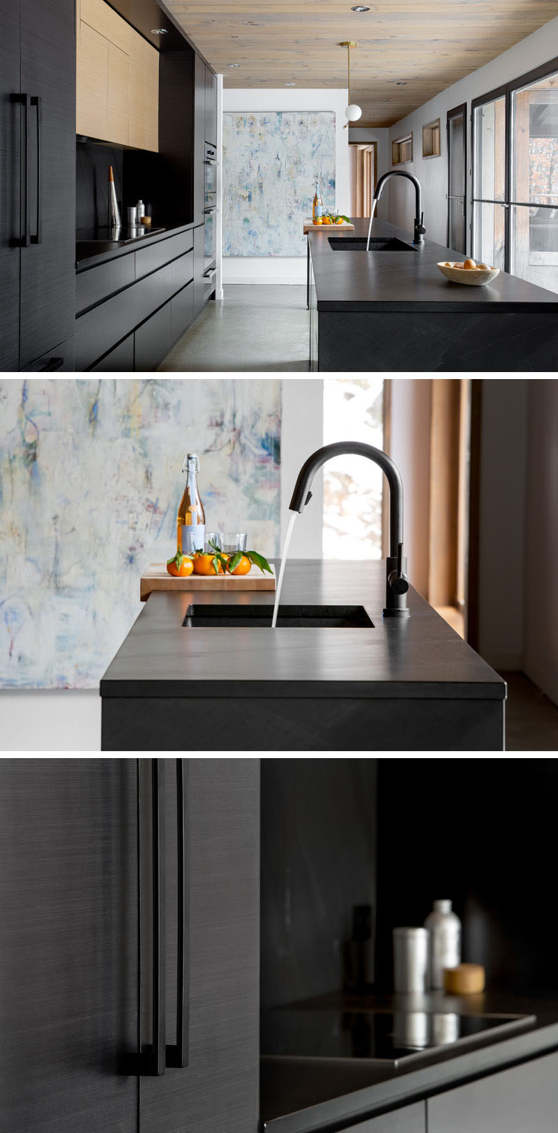 Interior designer Catlin Stothers completed a modern house interior with a new black kitchen.