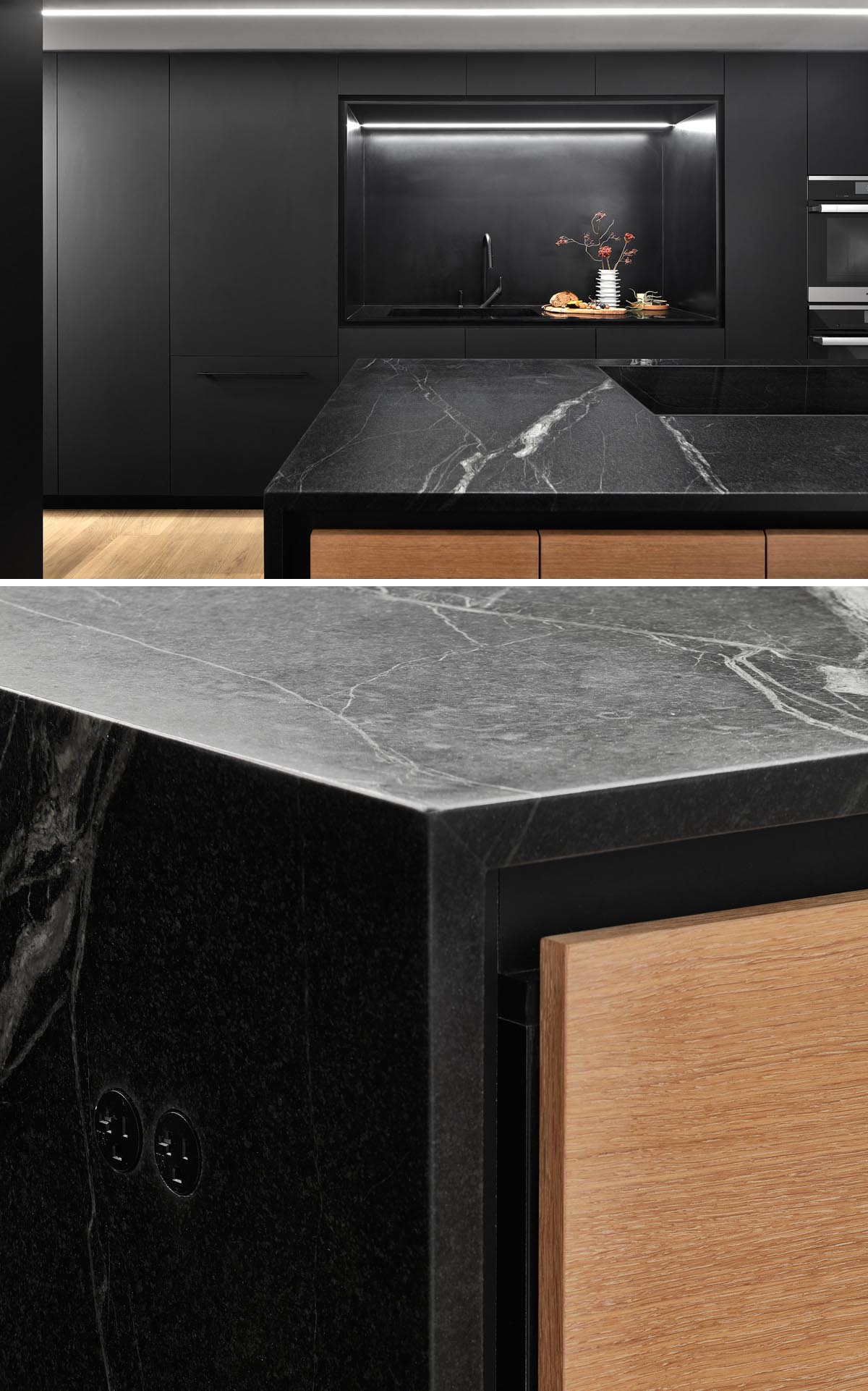 Design firm Creative Union Network completed the renovation of a loft apartment and included a black kitchen.