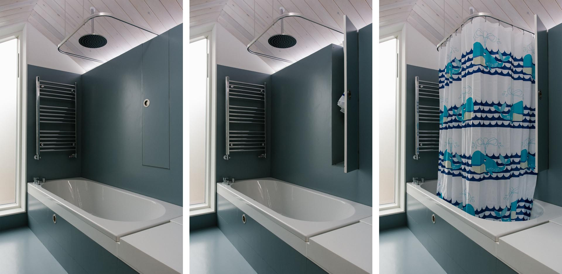 In this bathroom, there's LED lighting and a small closet to hide away the shower curtain when not in use.