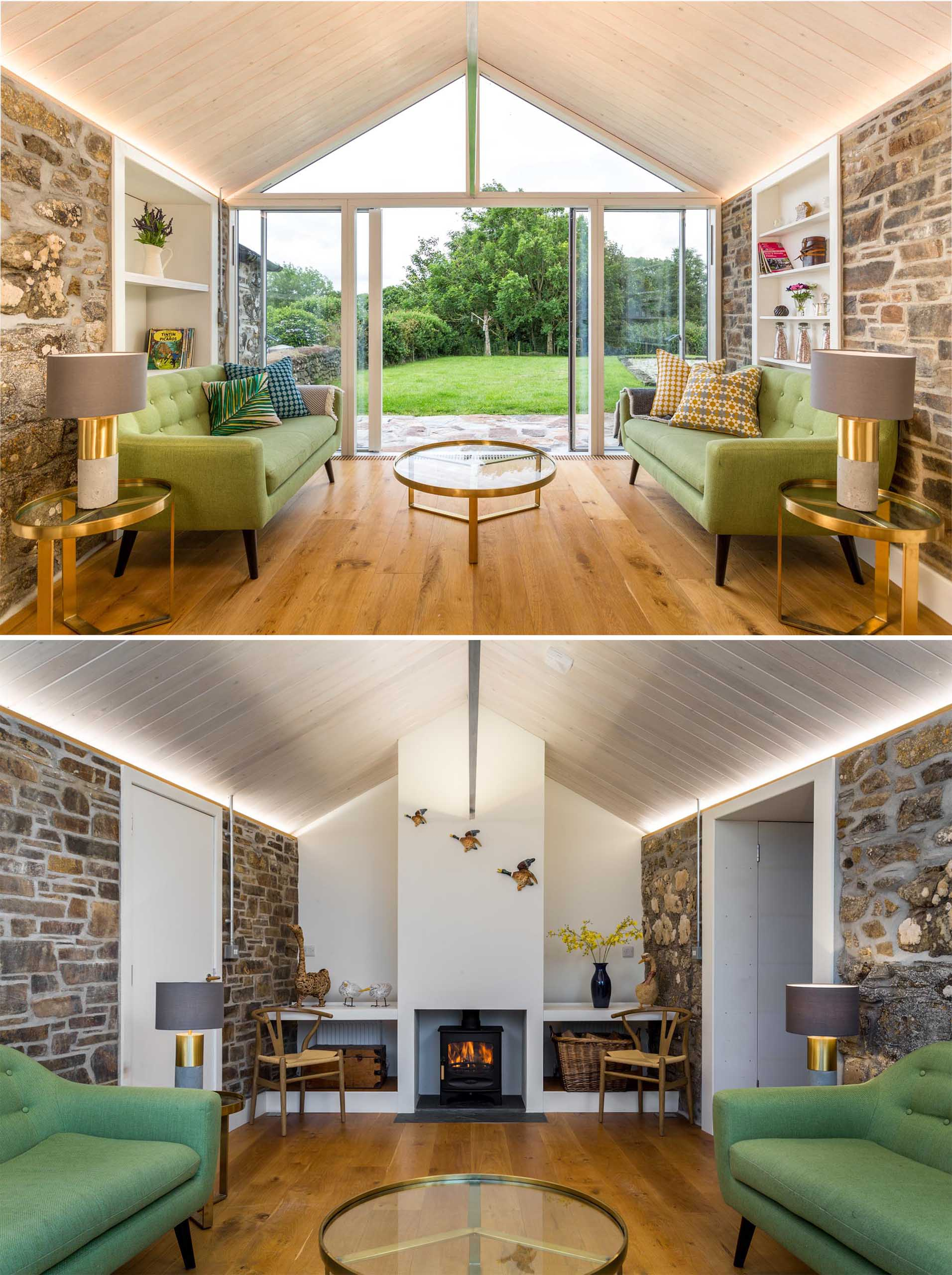 The stone work of the new extension, which is featured on both the exterior and interior of the home, adds a contemporary yet rustic element.