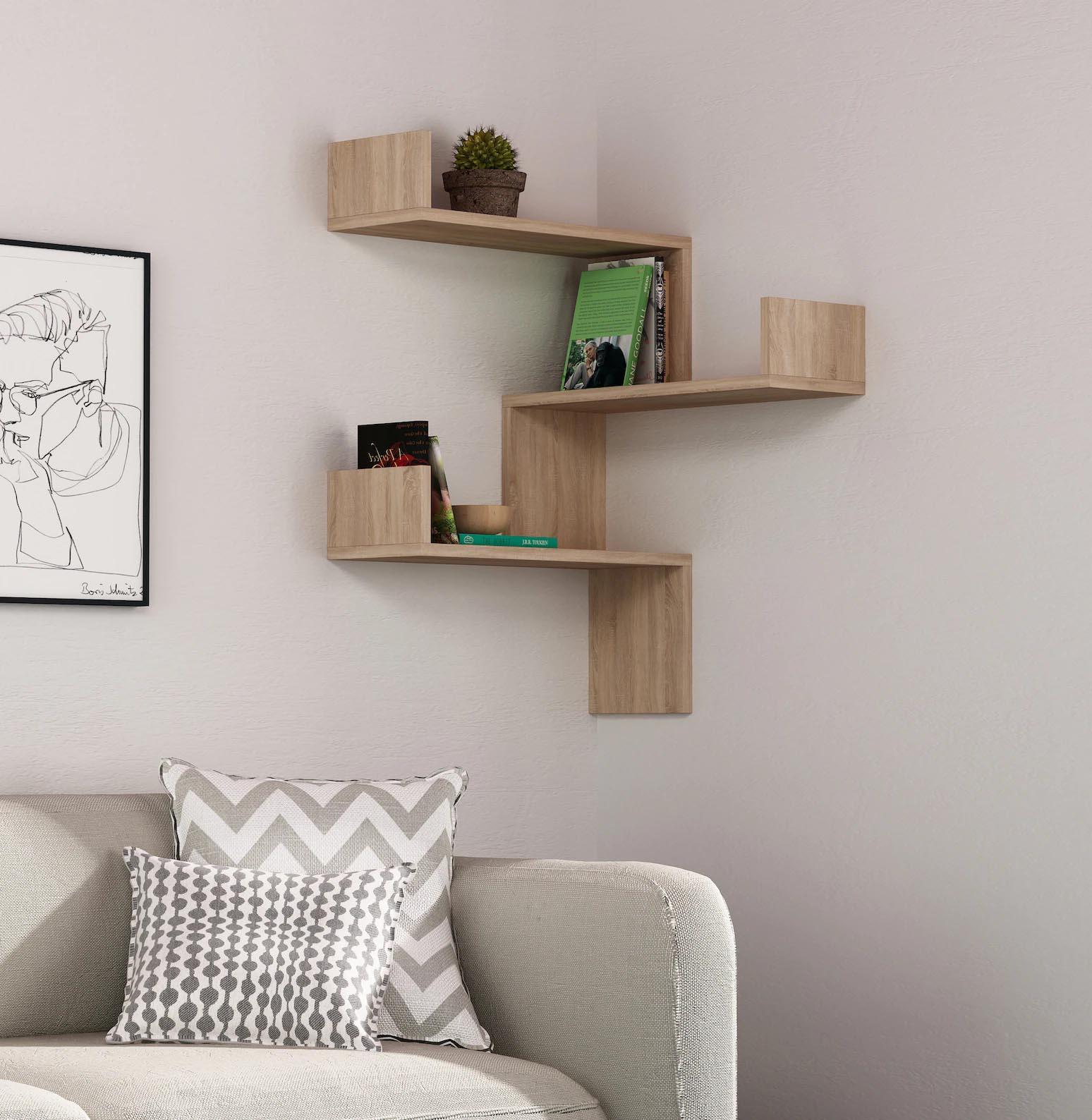 Corner Shelf Ideas - A wall-mounted corner shelf made from wood.