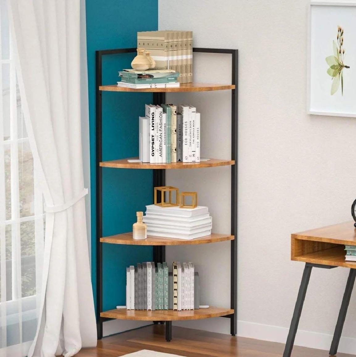 Corner Shelf Ideas - A modern corner shelf with black frame and wood shelves.