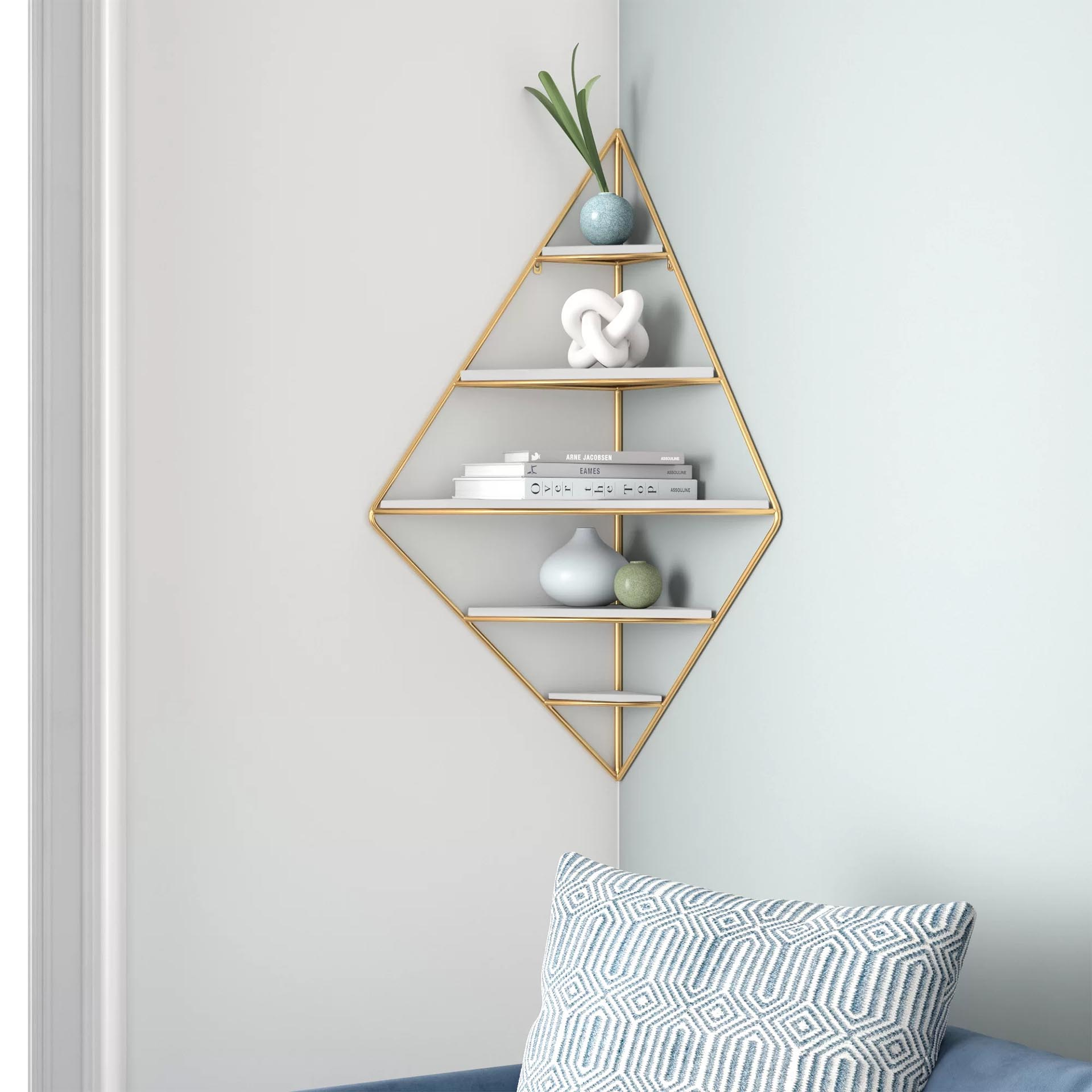 Corner Shelf Ideas - A mid-century modern corner shelf.