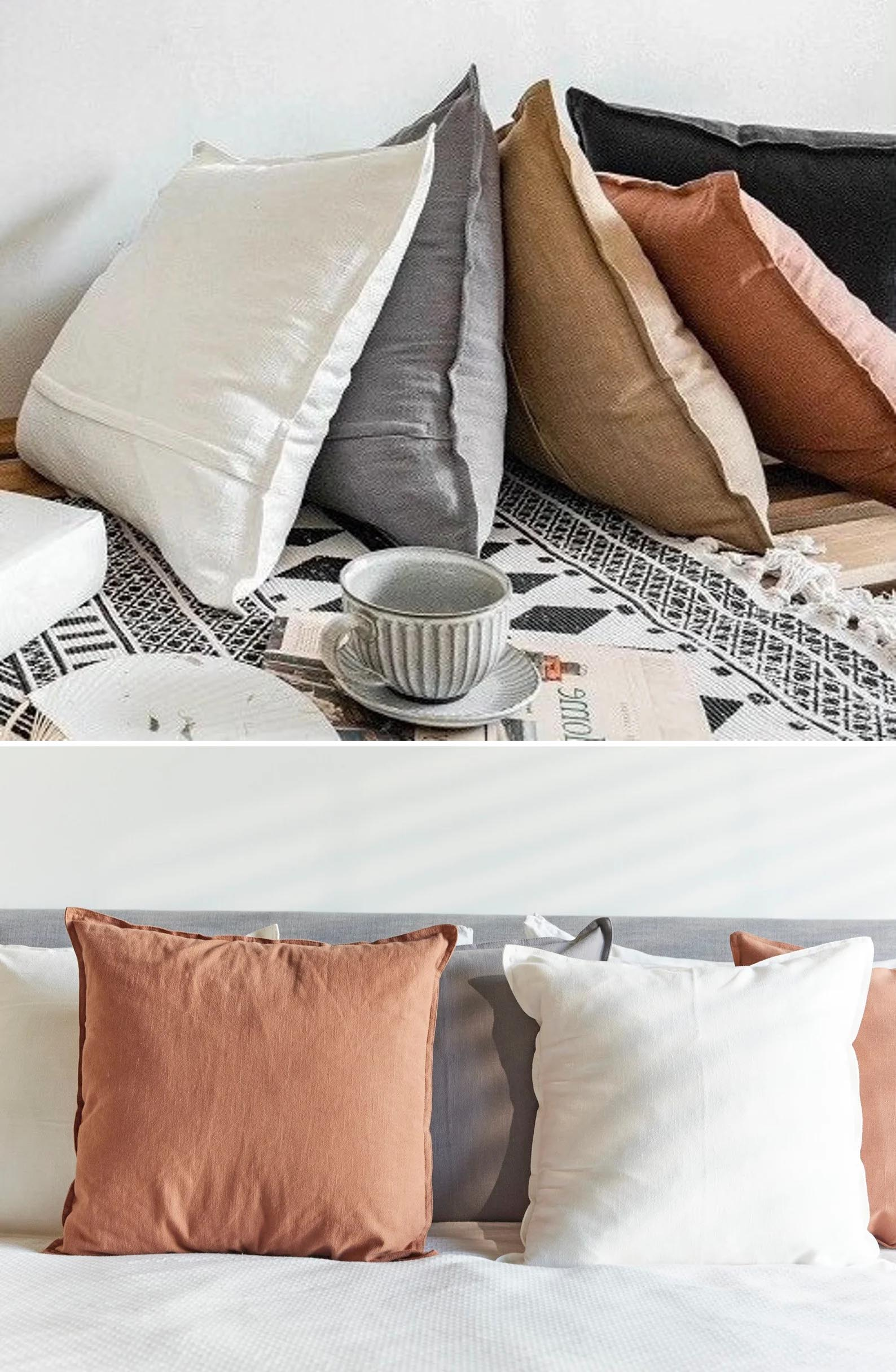 Modern Fall Decor Ideas - Natural linen pillow covers in fall colors.