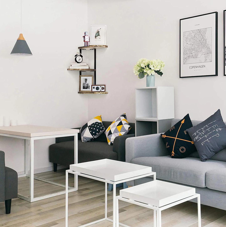 Corner Shelf Ideas - A wall mounted corner shelf with black frame and wood shelves.