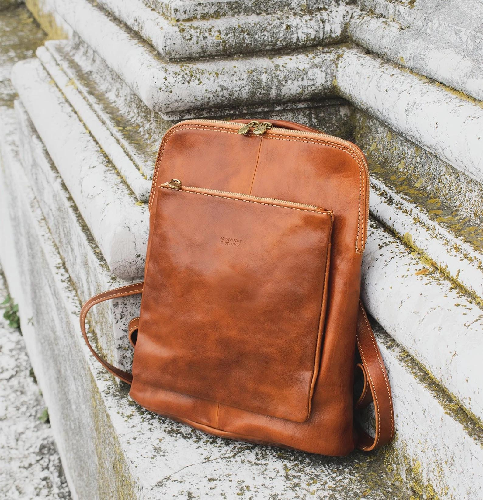 Modern Gift Ideas - Brown Leather Backpack.