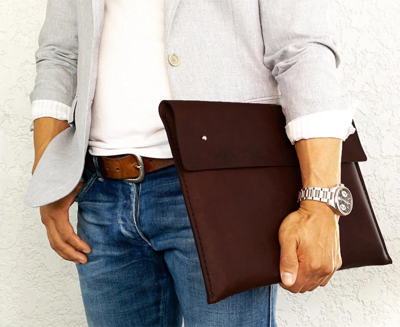 Modern Gift Ideas - Leather laptop cover.
