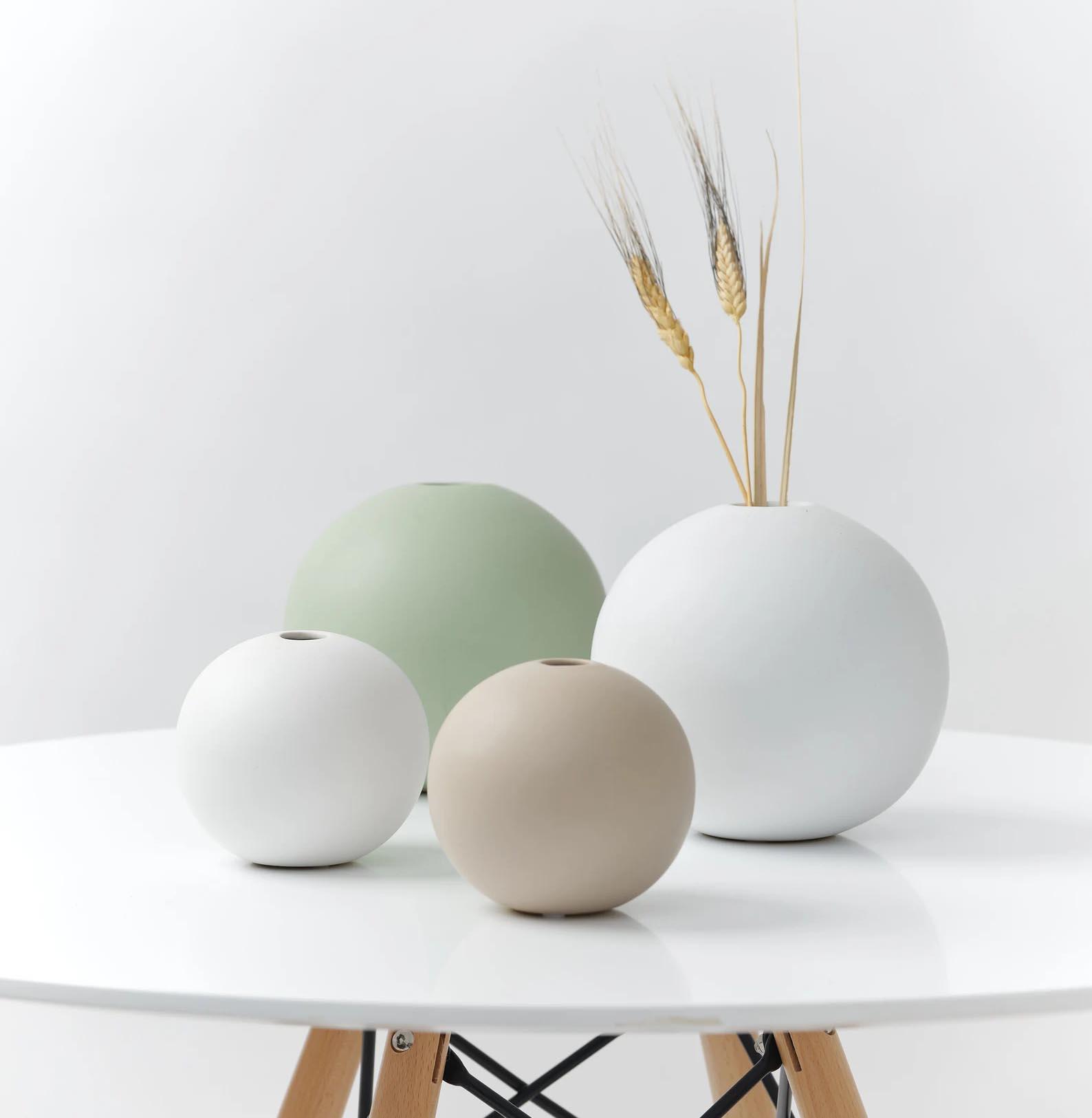 Modern Gift Ideas - Round matte ceramic vases.