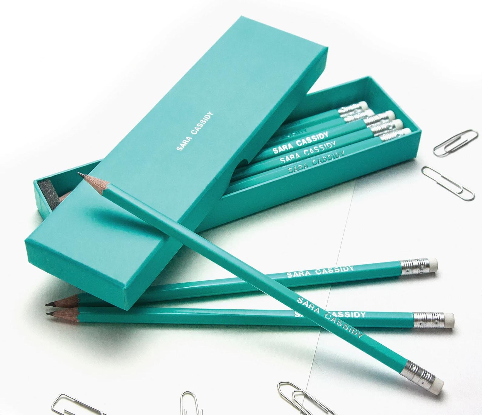 Modern Gift Ideas - Personalized pencils in a box.