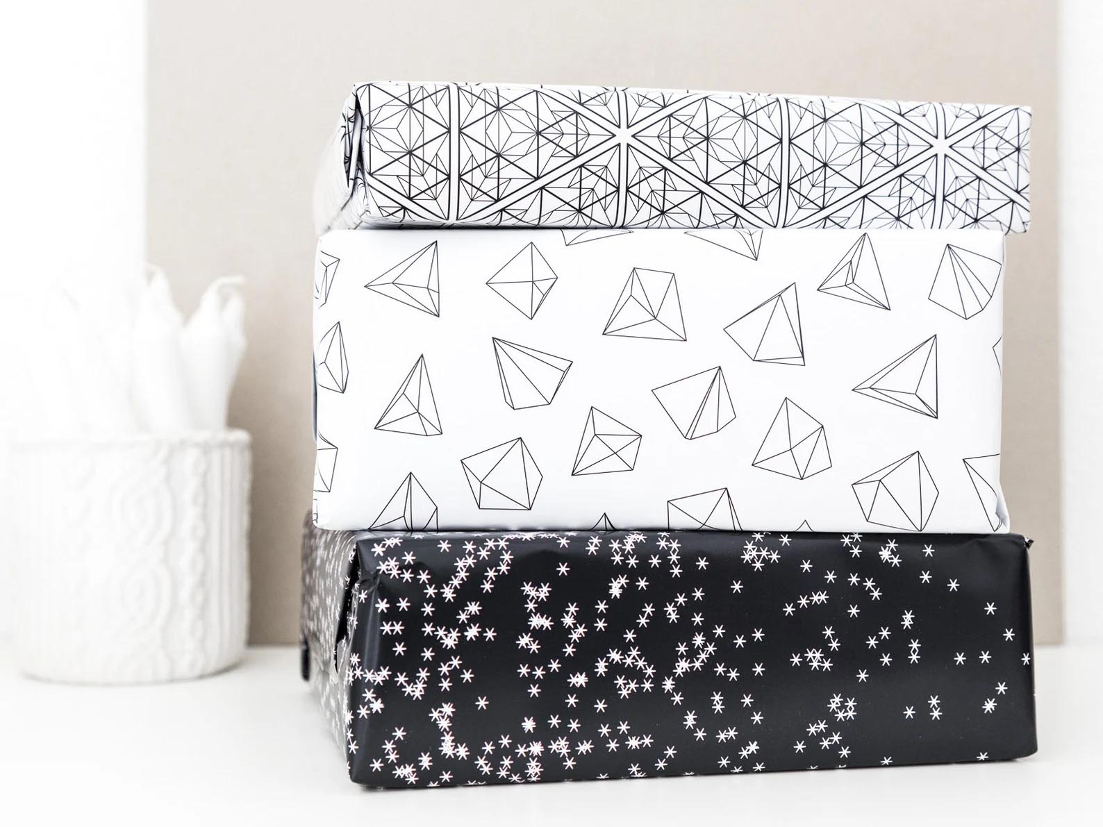 Modern Gift Ideas - Graphic print gift wrapping paper.