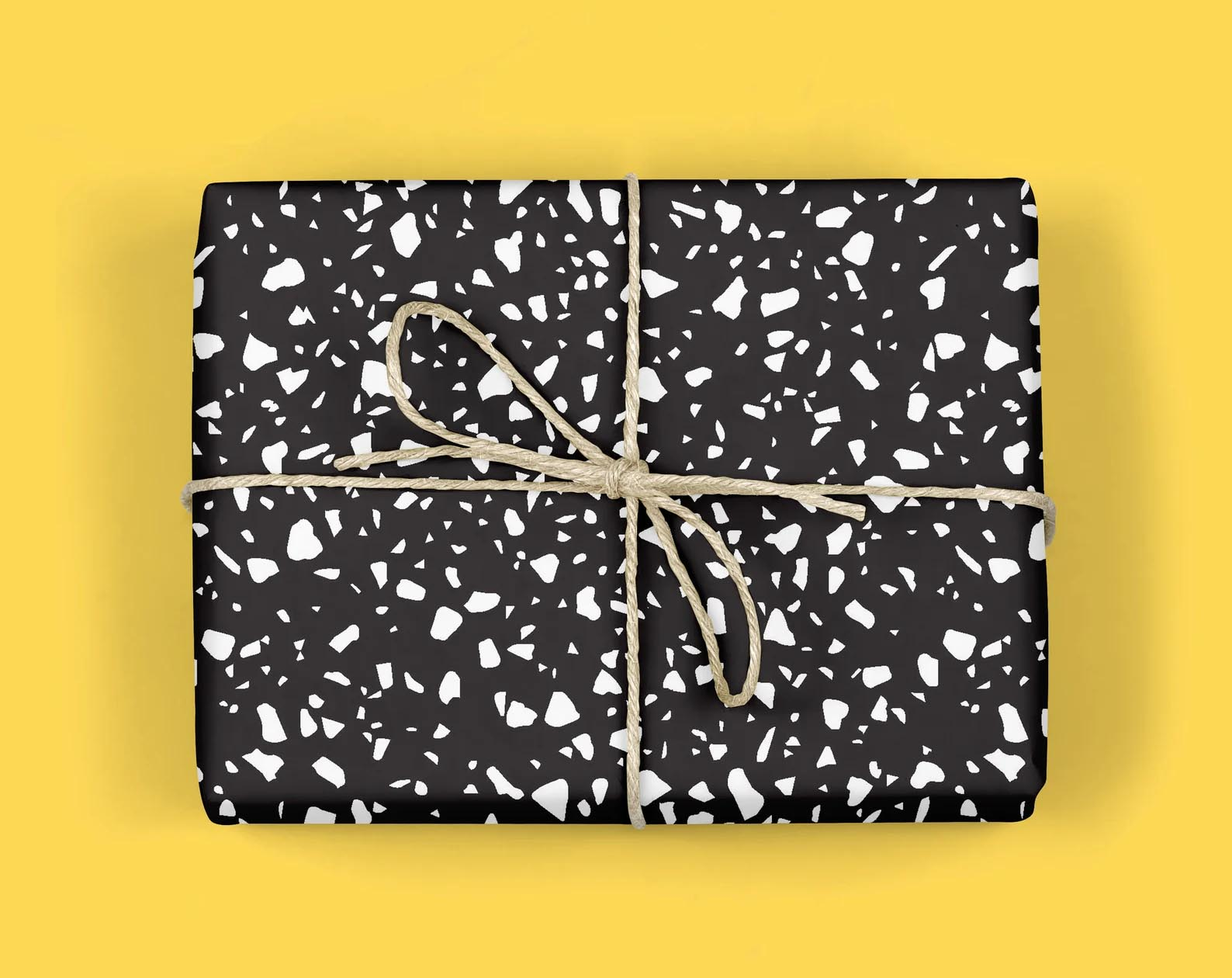 Modern Gift Ideas - Black terrazzo wrapping paper.