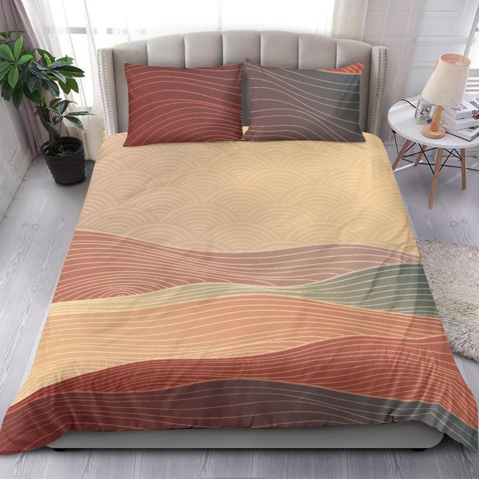 Modern Bedroom Decor - Japanese-inspired geometric bedding.
