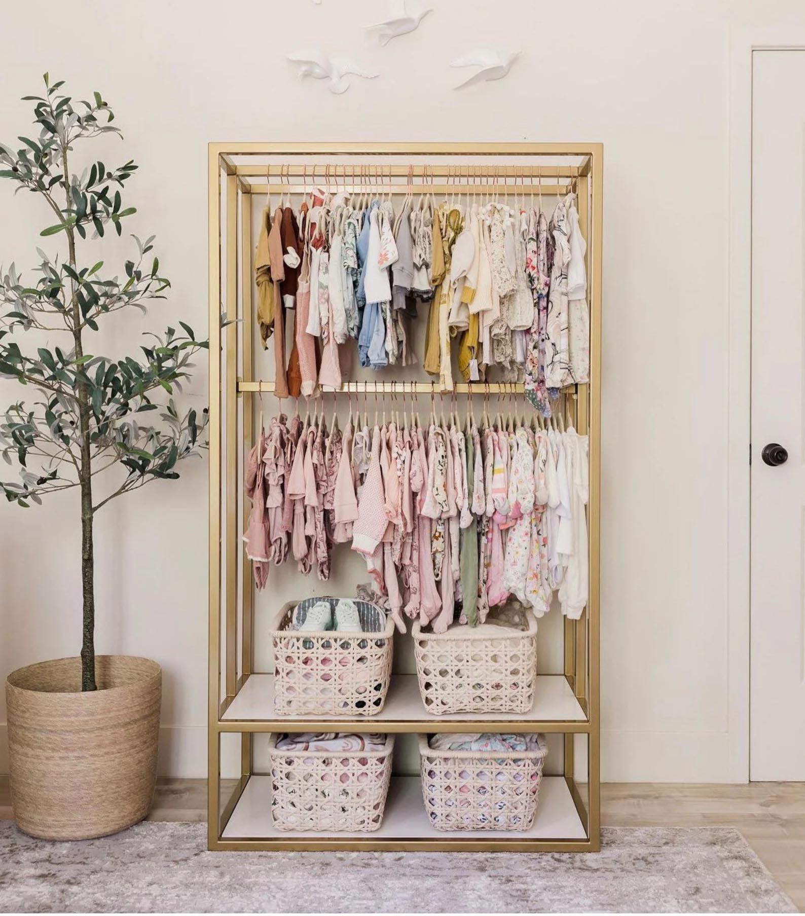 Storage Idea - Modern kid's wood freestanding clothes rack.