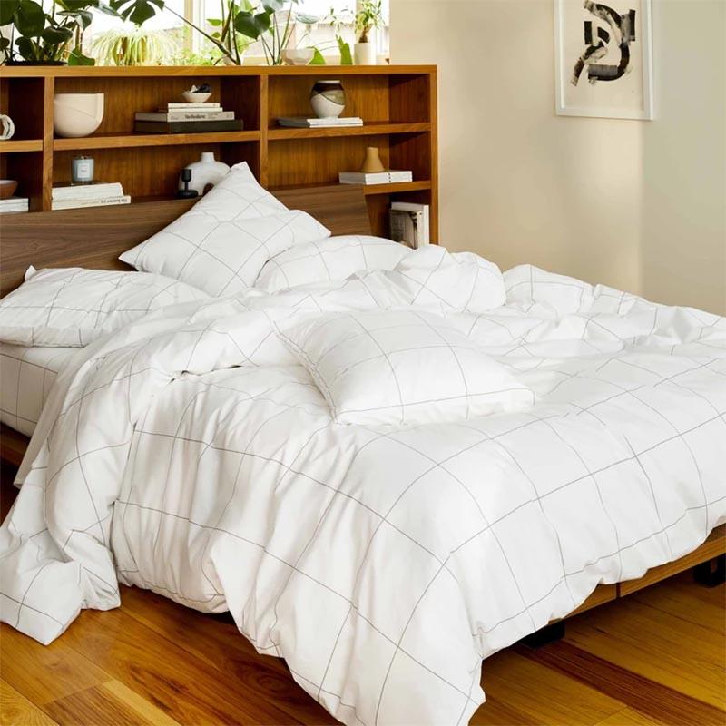 Modern Bedroom Decor - Minimalist geometric bedding.