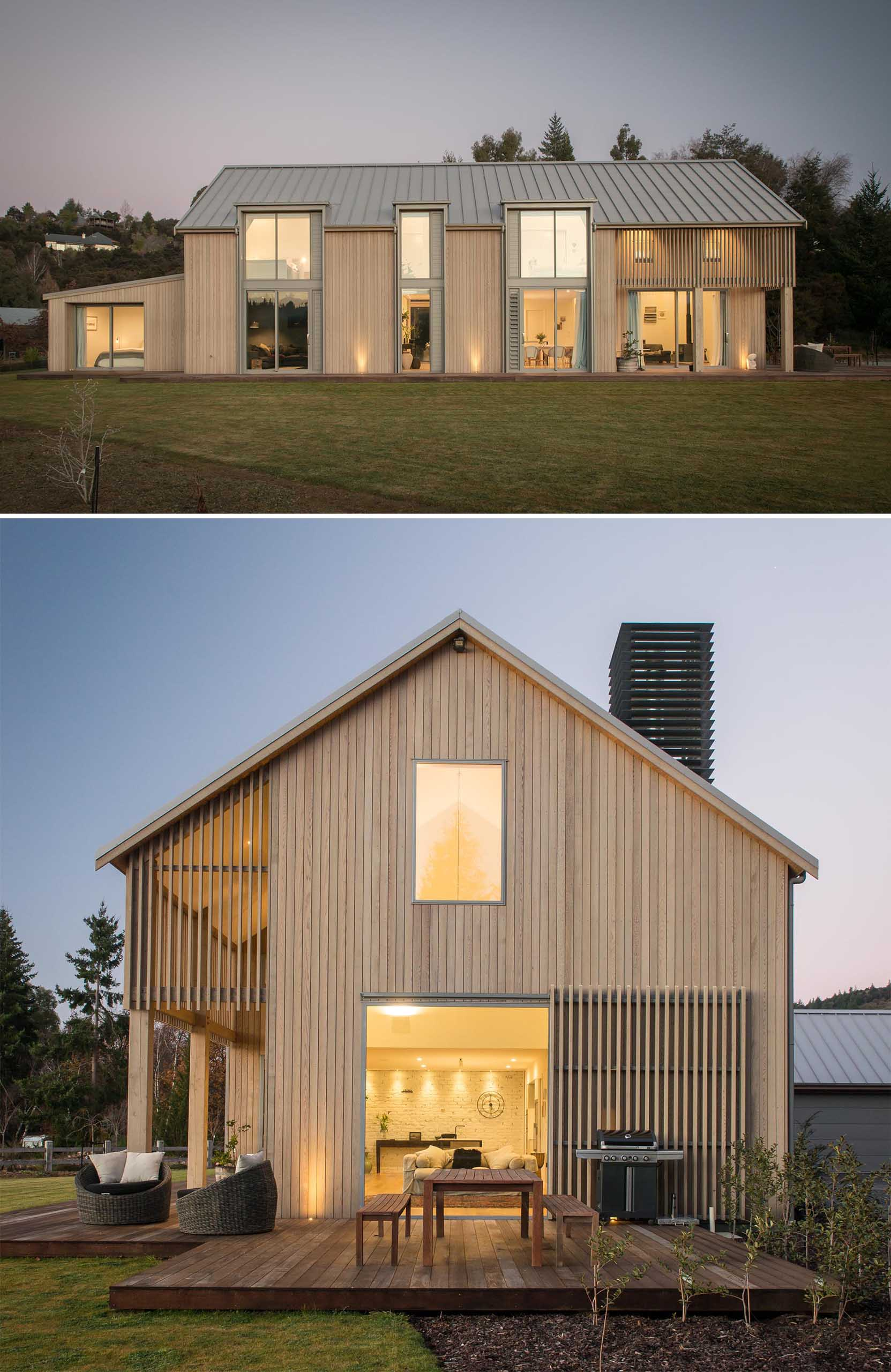 A contemporary barn-inspired home that has an exterior of pale timber tones, a sloped metal roof, and a shiplap ceiling.