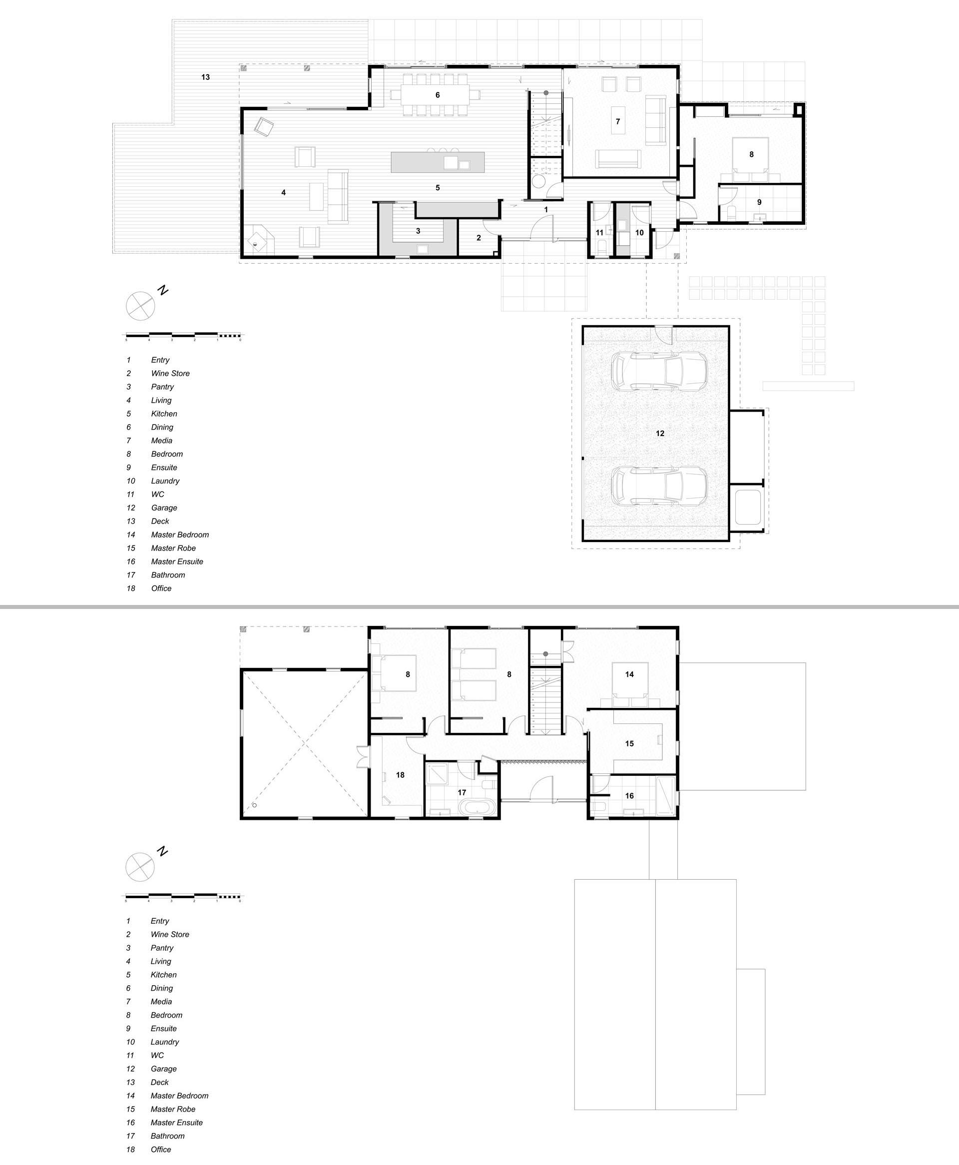 The floor plan of a contemporary barn-inspired home that has an exterior of pale timber tones, a sloped metal roof, and a shiplap ceiling.