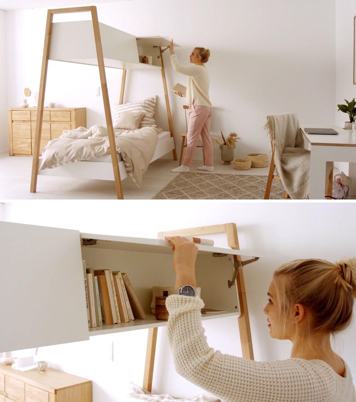 A modern bed design with Nordic influence, includes added storage cabinets above.
