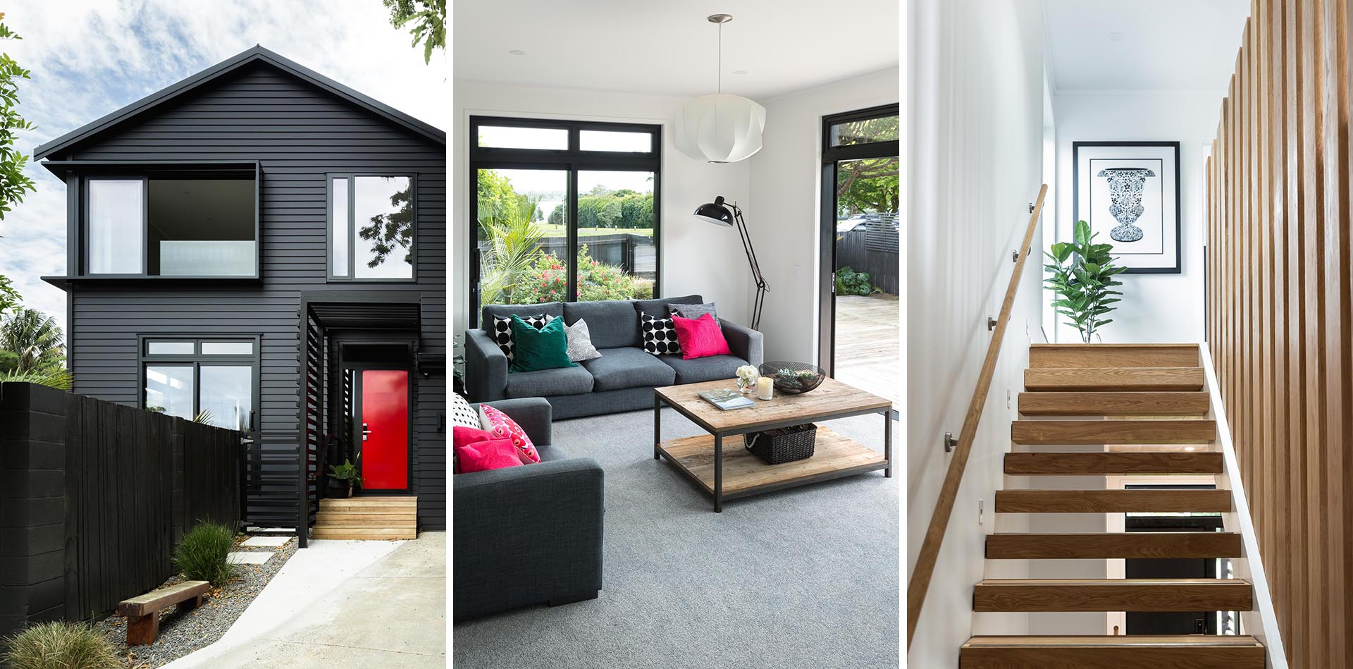 A modern house with a black exterior, bold red front door, and a bright interior with oak staircase.