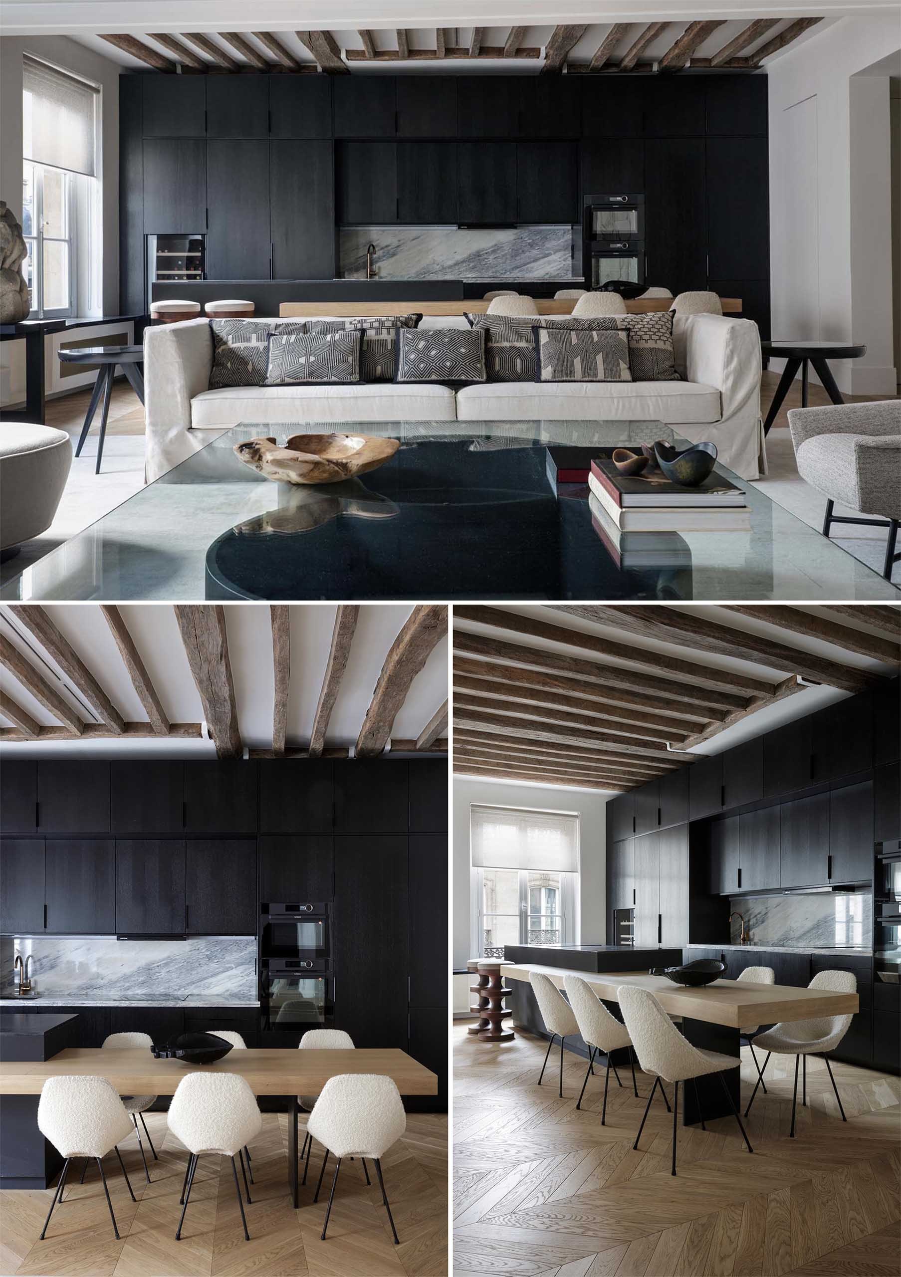 Studio Arthur Casas together with architect Marina Werfel has designed the interiors of a modern apartment in Paris, France, that includes a striking matte black kitchen.