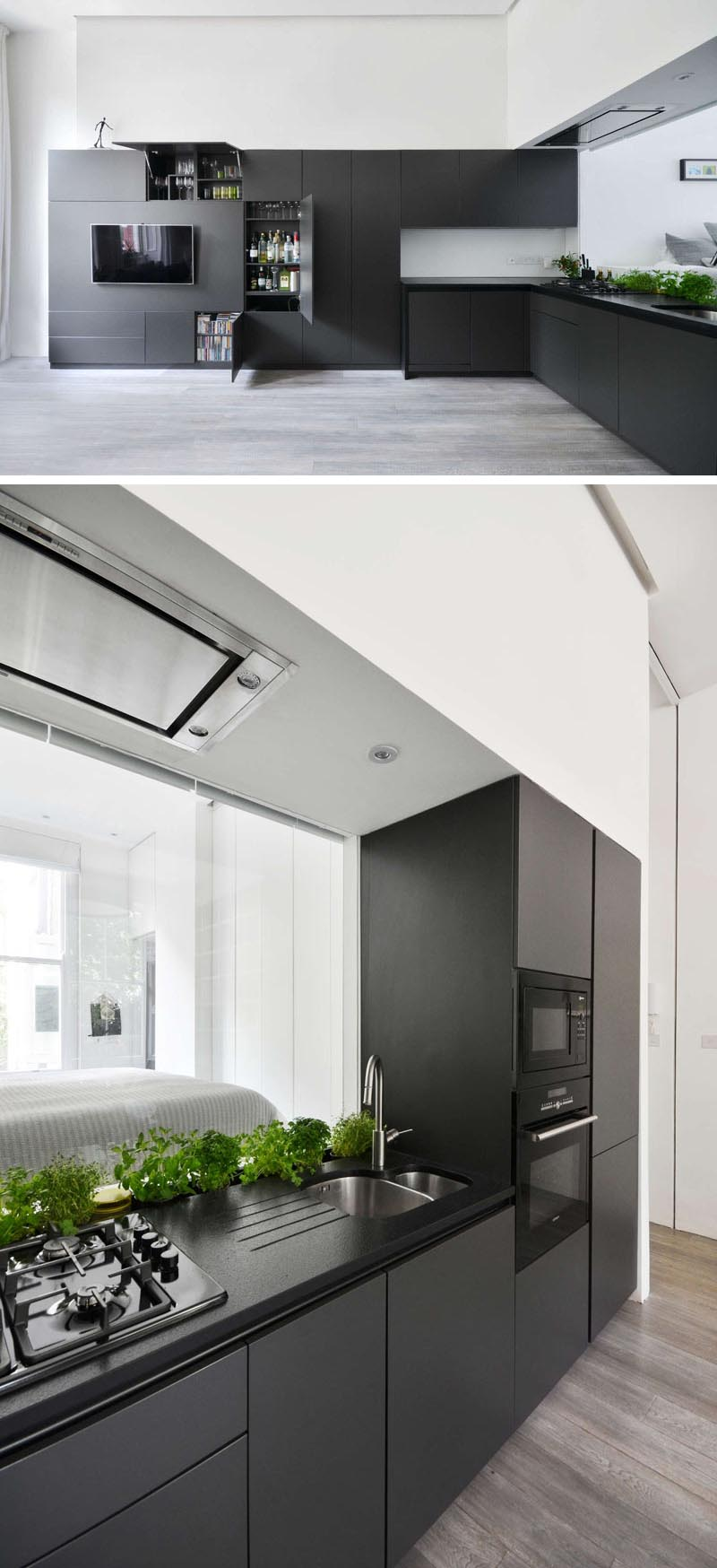 Daniele Petteno Architecture Workshop designed a matte black kitchen in a London apartment.