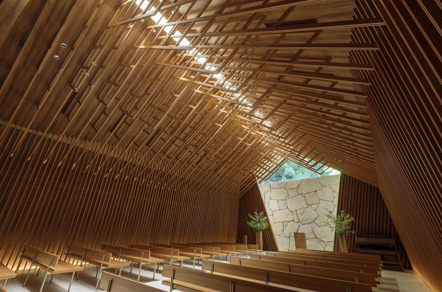 A modern chapel with eye-catching wood detailing.