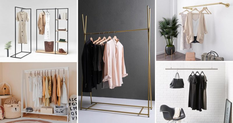 Ranging from freestanding, hanging, wall mounted, and even kid's designs, these clothes racks can be used in entryways, bedrooms, and even living rooms where you can hang blankets.
