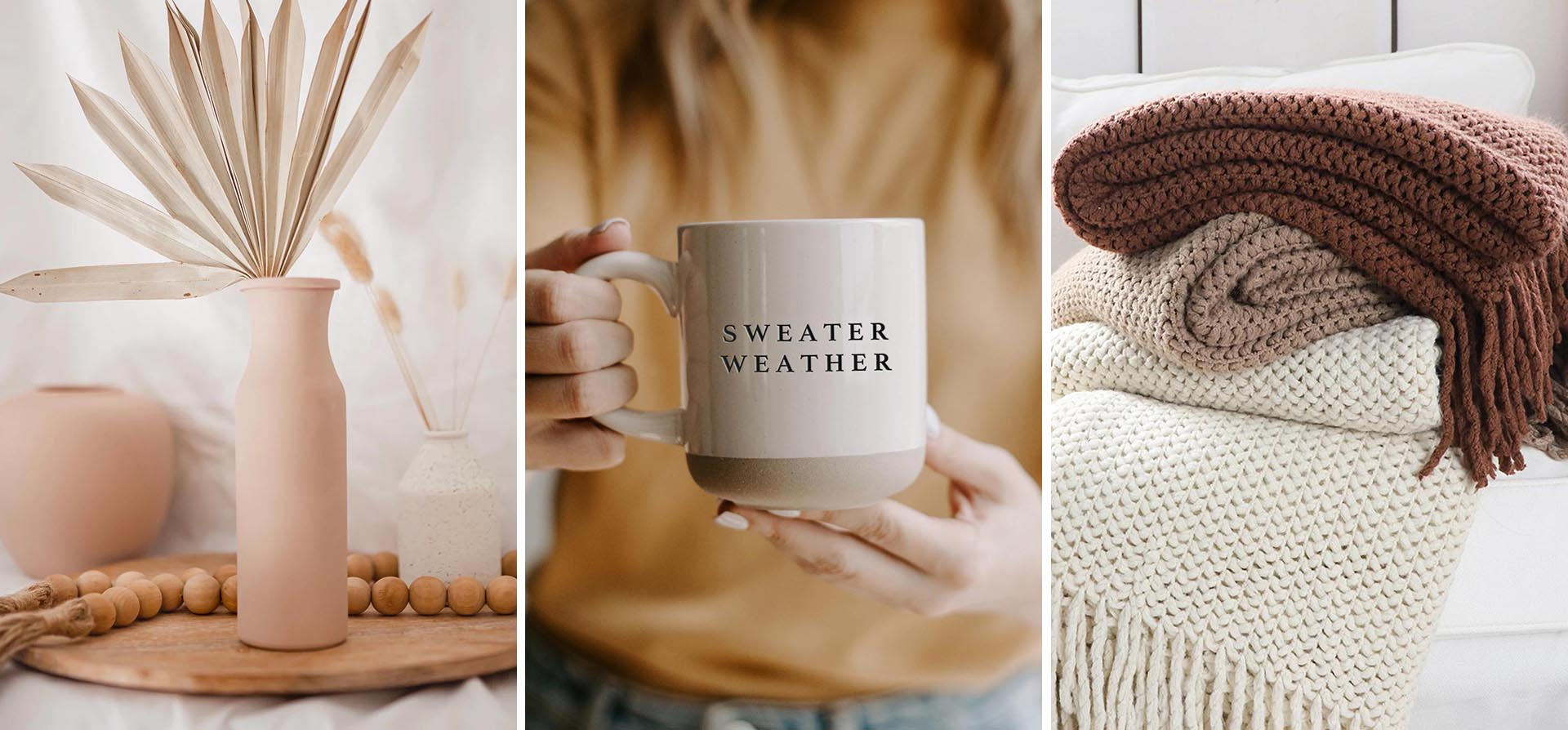 Warm tones, cozy materials, and matte finishes are just a few of the design elements in these modern fall decor pieces.