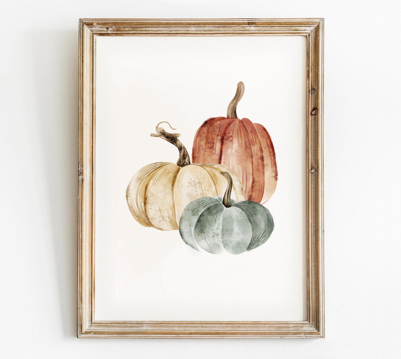 Modern Fall Decor Ideas - Pumpkin Printable Wall Art
