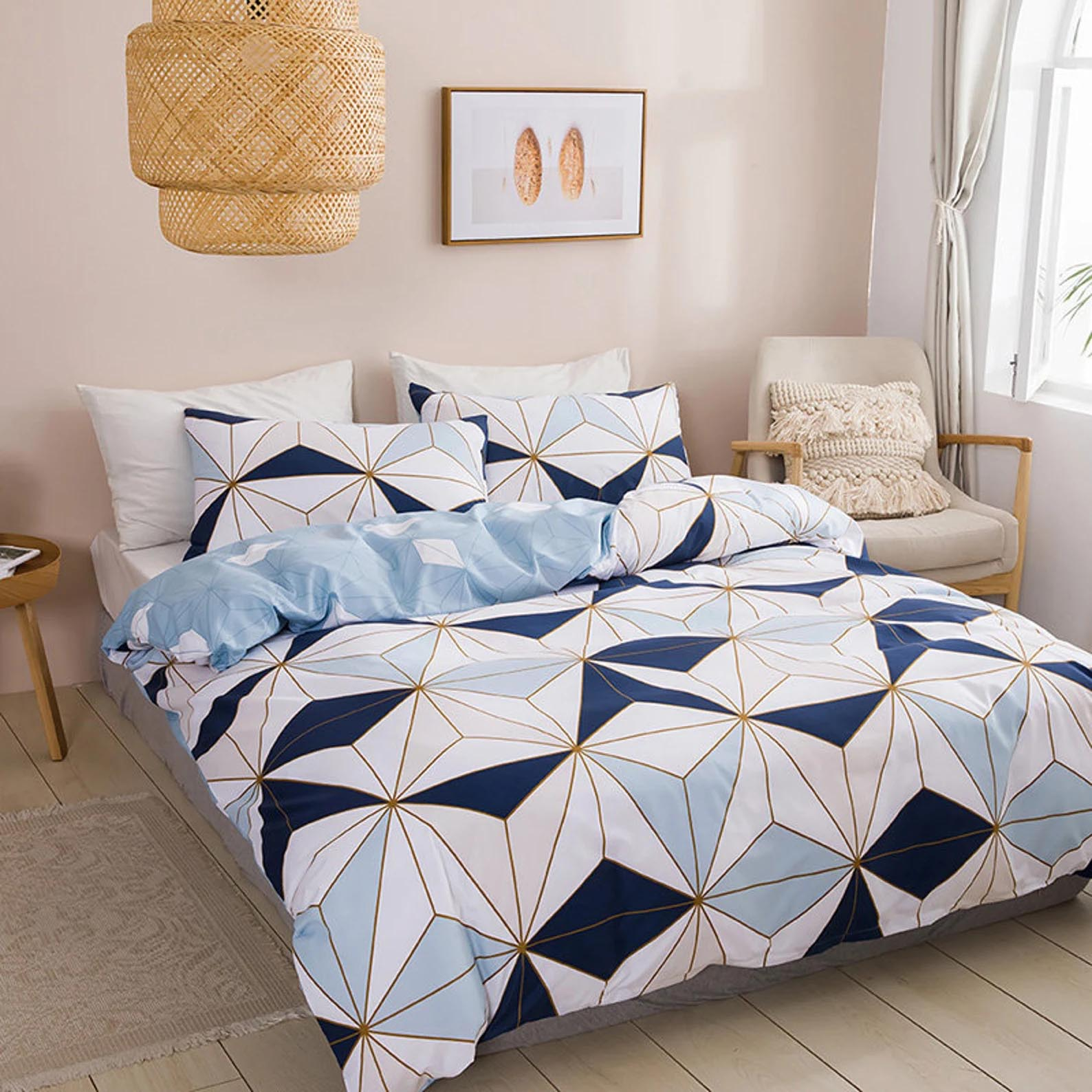 Modern Bedroom Decor - Geometric bedding with pastel colors.