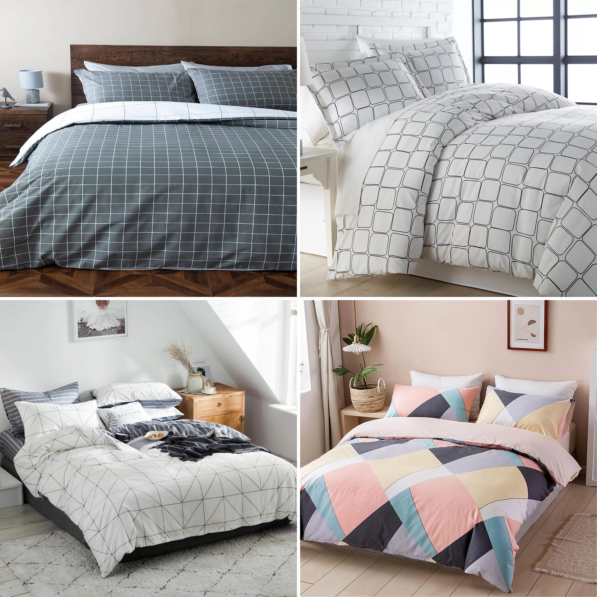 Modern geometric bedding is a great way to add interest and color to the any bedroom, without it being overpowering.