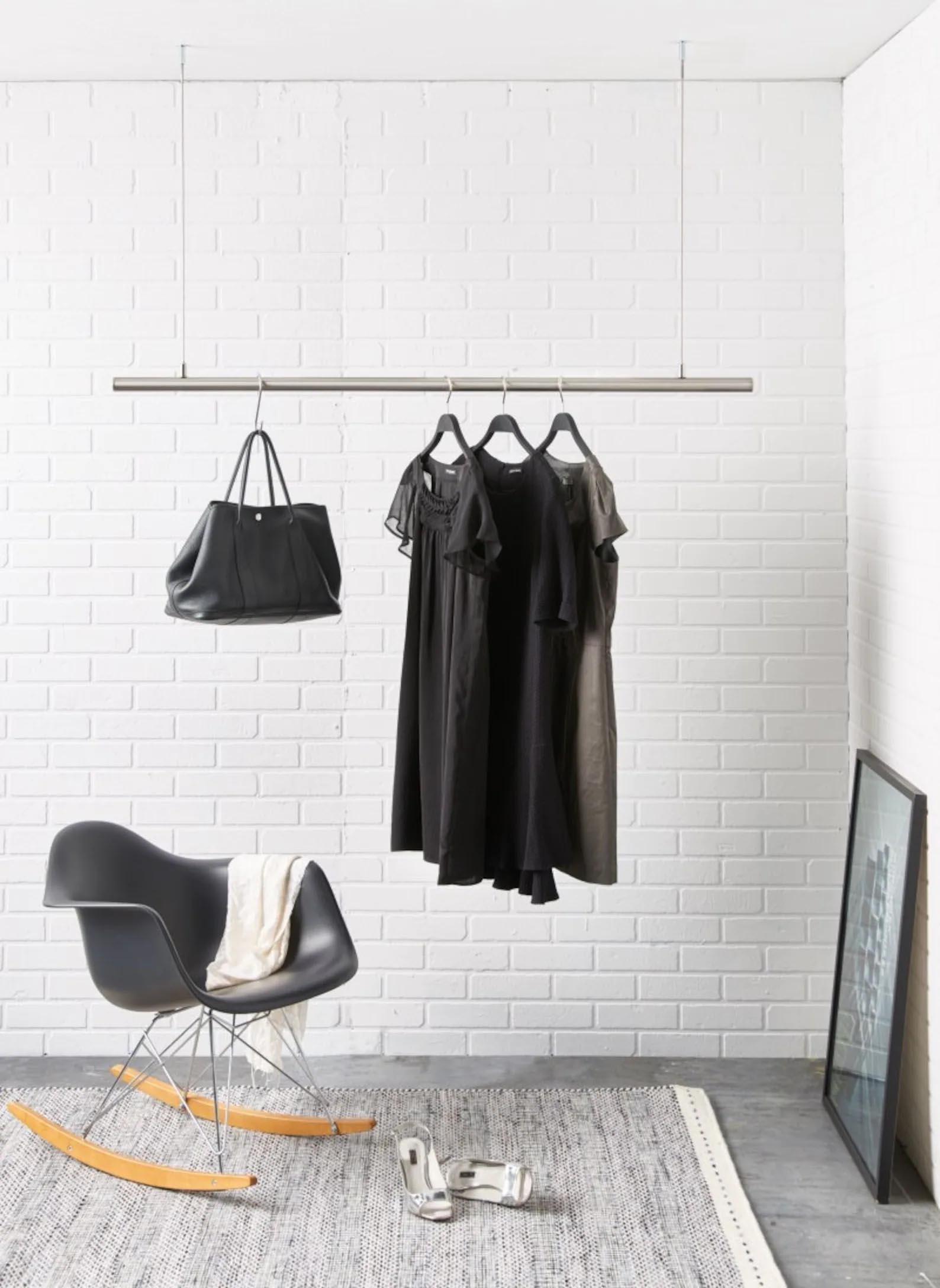 Storage Idea - Modern hanging metal clothes rack.