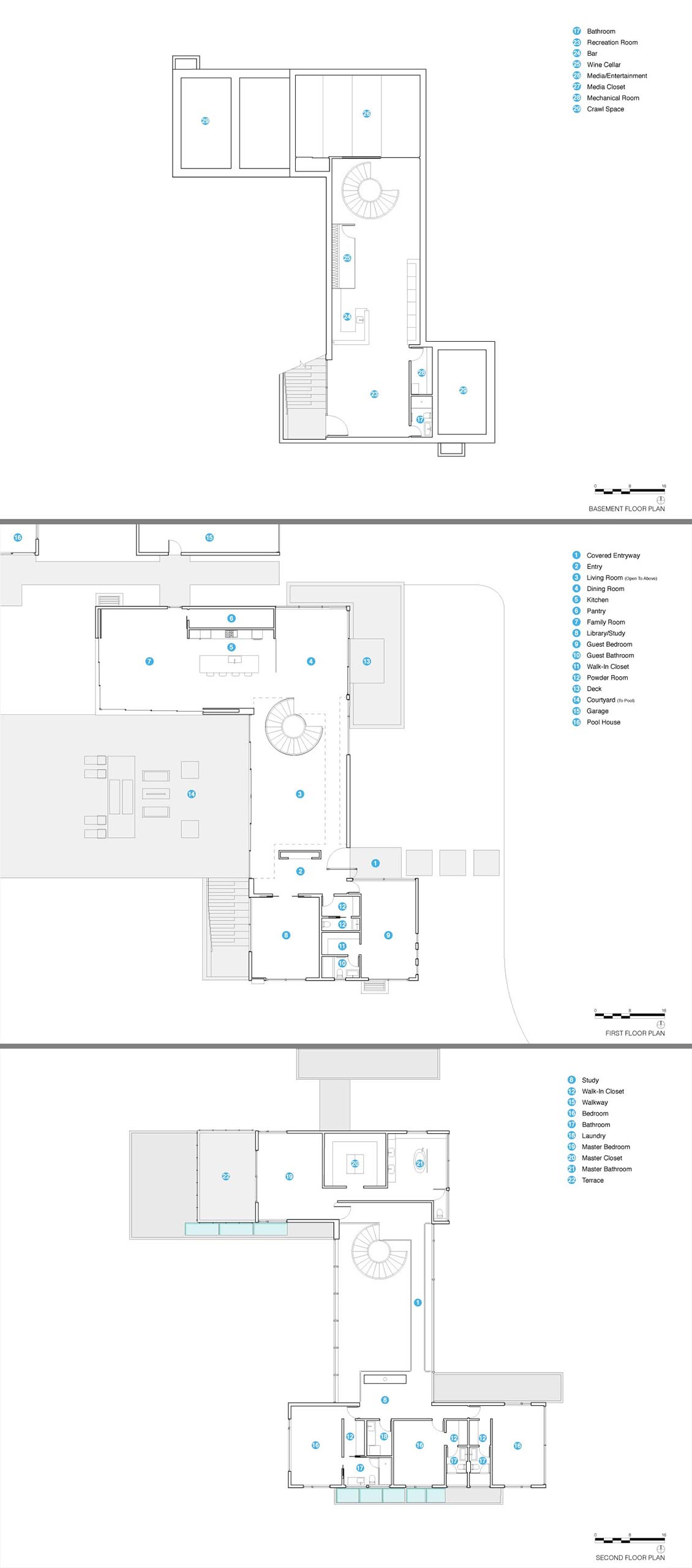 The floor plan of a modern three story house.