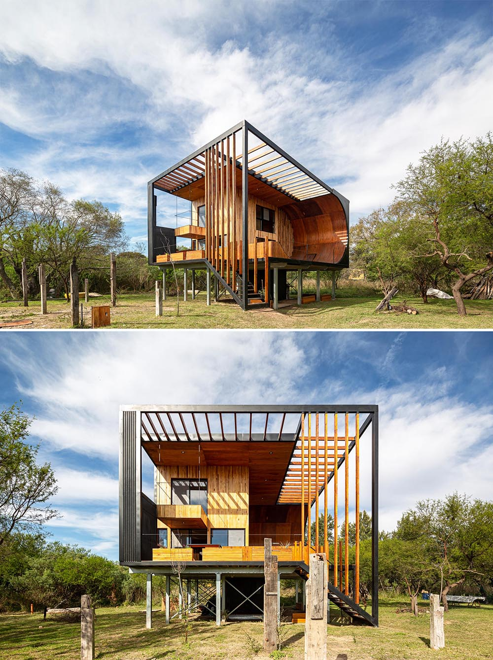 A small and modern house with a built-in skateboard ramp, wood exterior cladding, and black metal.