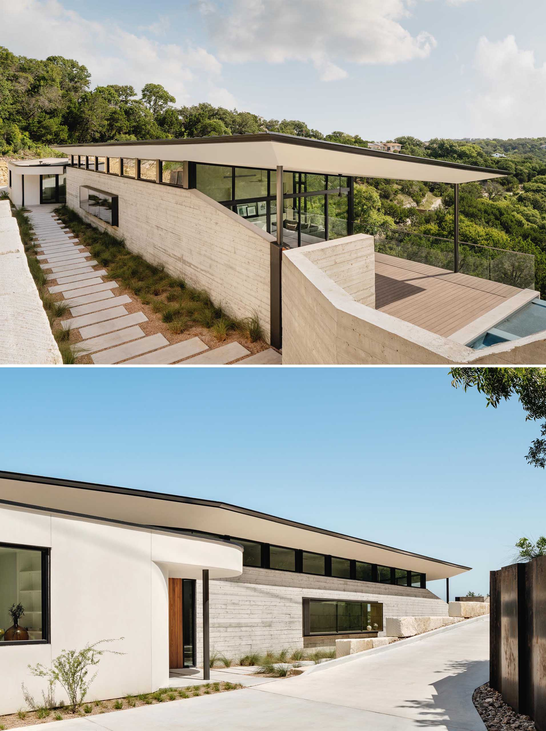 The boomerang shape of this modern home accentuates the natural curvature of the land, while high walls lined with clerestory windows create a buffer between the busy adjacent road while also balancing light throughout the day.