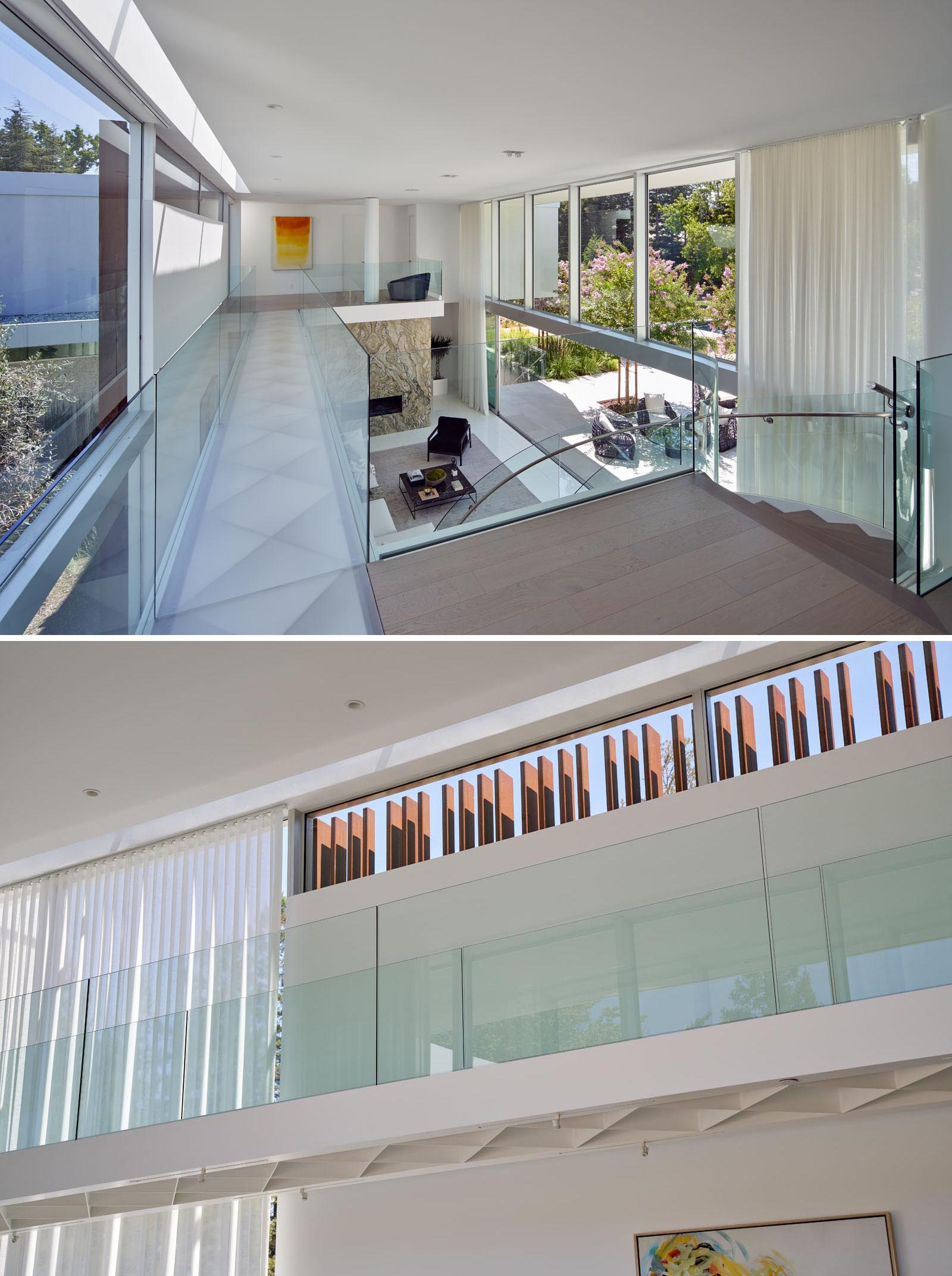 An acrylic and steel bridge begins near one end of the stair landing and travels 40 feet to the children's bedroom wing.